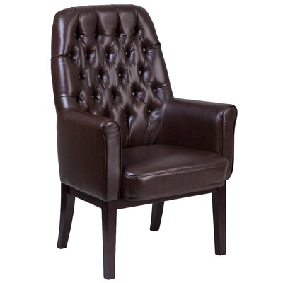 Broadwell Traditional Tufted Armchair Upholstery: Brown