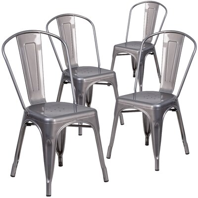 Guglielmo Coated Metal Indoor Stackable Dining Chair