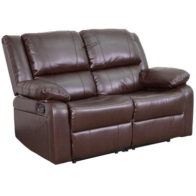 Harmony Series Reclining Loveseat Upholstery: Brown