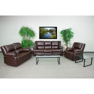 Harmony Series 3 Piece Living Room Set Upholstery: Brown
