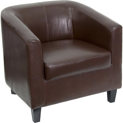 Jacia Leather Lounge Chair with Barrel Back Leather Color: Brown