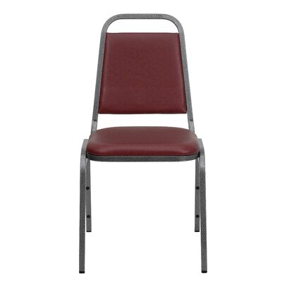 Hercules Series Armless Stacking Banquet Chair Quantity: Set of 10, Seat Color: Burgundy, Frame Finish: Silver Vein