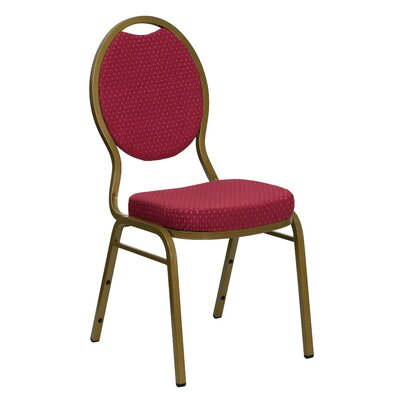 Thornfeldt Teardrop Back Stacking Banquet Chair With Silver Vein Frame Seat Finish: Burgundy Patterned, Quantity: Set of 10