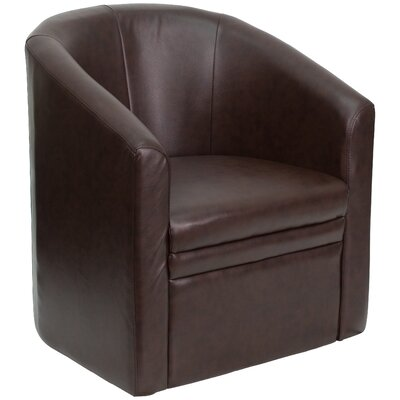 Catie Club Leather Lounge Chair with Barrel Shape Finish: Brown