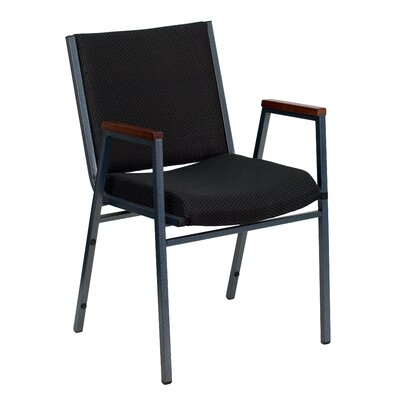 Hercules Series Heavy Duty 3 Thickly Padded Stack Chair Seat Finish: Black Patterned Fabric, Arms: Yes, Quantity: Set of 20