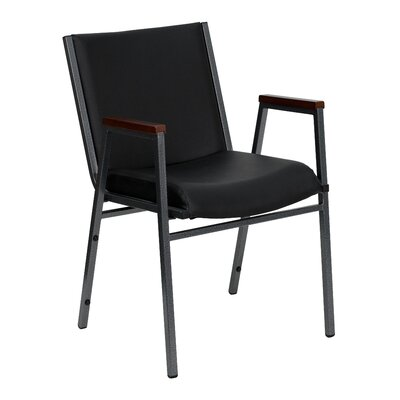 Dillman Heavy Duty 3 Thickly Padded Stack Chair Seat Finish: Black Vinyl, Quantity: Set of 16, Arms: Yes