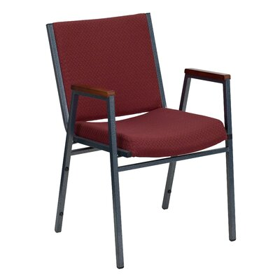 Dillman Heavy Duty 3 Thickly Padded Stack Chair Seat Finish: Burgundy Patterned Fabric, Quantity: Set of 10, Arms: Yes