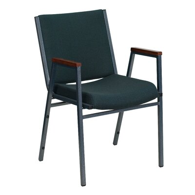 Hercules Series Heavy Duty 3 Thickly Padded Stack Chair Arms: Yes, Quantity: Set of 16, Seat Finish: Green Patterned Fabric