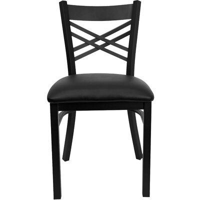 "Picture of FlashFurniture Hercules Series  ""X"" Back Side Chair Seat Finish: Black Vinyl in Large Size"