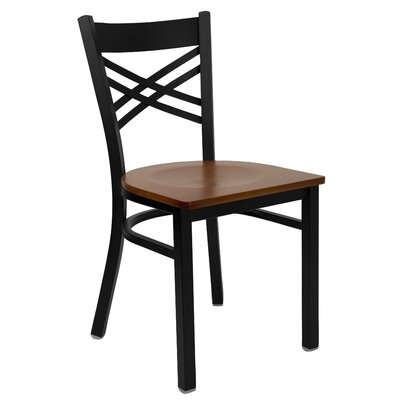 Socorro Coated X Back Metal Restaurant Side Chair Finish: Cherry/Black