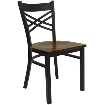 Allie Coated X Back Metal Restaurant Side Chair Finish: Mahogany/Black