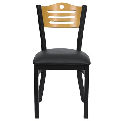 Chafin Slat Back Side Chair (Set of 2) Upholstery: Black Vinyl