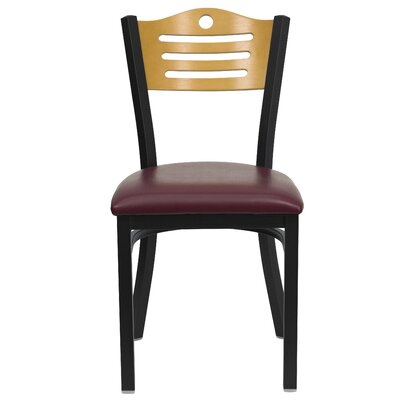 Chafin Slat Back Side Chair (Set of 2) Upholstery: Burgundy Vinyl