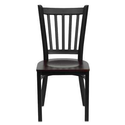 Low Price FlashFurniture Hercules Series Vertical Back Side Chair Seat Finish: Mahogany Wood