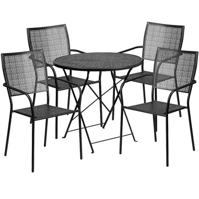 5 Piece Dining Set Color: Black