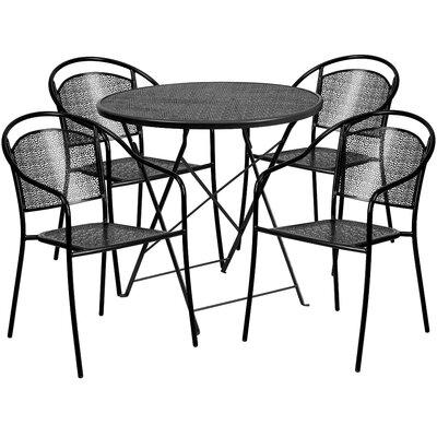 5 Piece Dining Set Color: Black