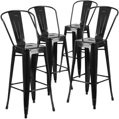 Saif 30.25 Bar Stool Color: Black