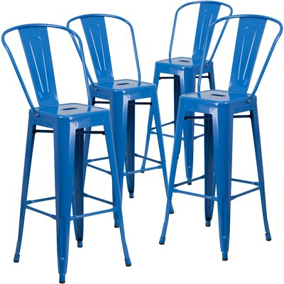 Saif 30.25 Bar Stool Color: Blue