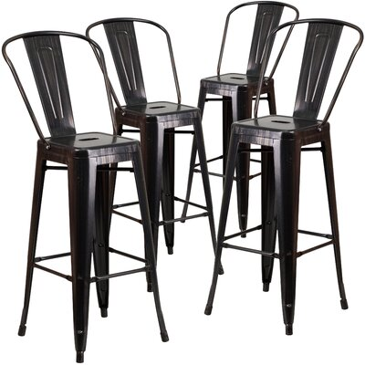 Saif 30.25 Bar Stool Color: Black-Antique Gold