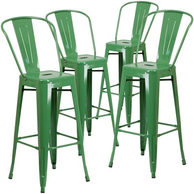 Saif 30.25 Bar Stool Color: Green