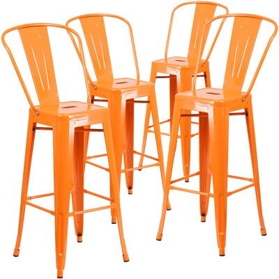 Saif 30.25 Bar Stool Color: Orange