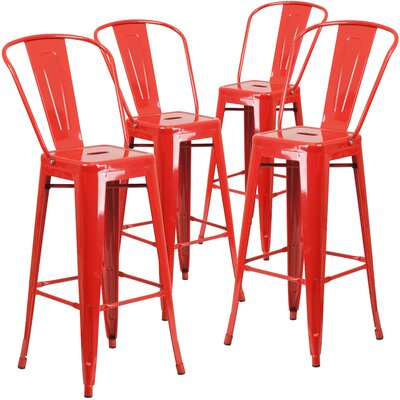Saif 30.25 Bar Stool Color: Red