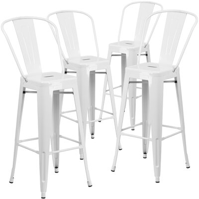 Saif 30.25 Bar Stool Color: White