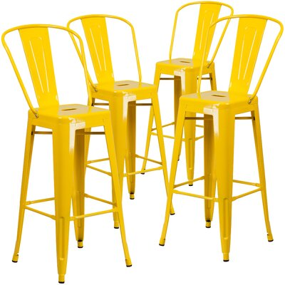 Saif 30.25 Bar Stool Color: Yellow