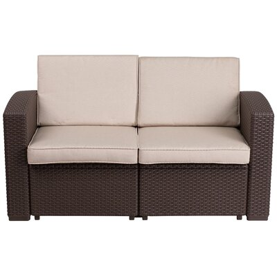 Clifford Faux Rattan Loveseat with Cushion
