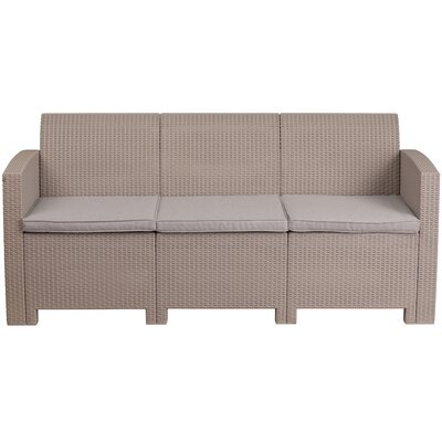 Stockwell Faux Rattan Sofa with Cushions
