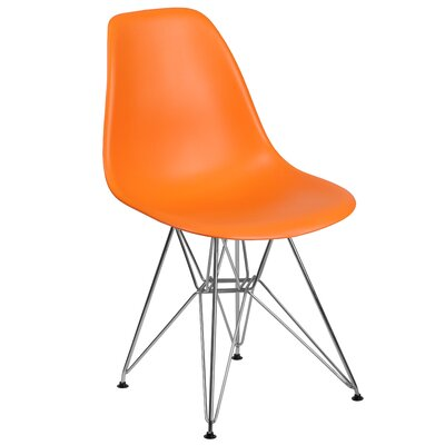 Ressler Modern Plastic Dining Chair Color: Orange