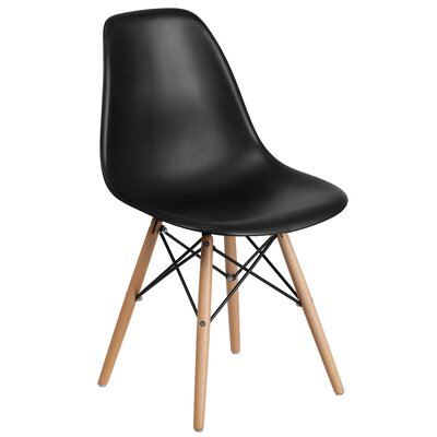 Ressler Plastic Dining Chair (Set of 2) Color: Black