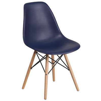 Ressler Plastic Dining Chair (Set of 2) Color: Navy