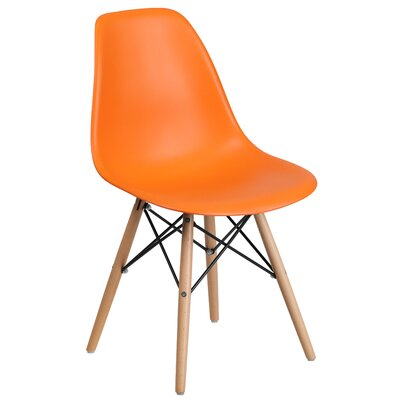 Ressler Plastic Dining Chair (Set of 2) Color: Orange