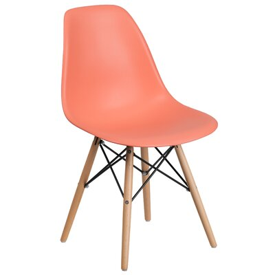 Ressler Plastic Dining Chair (Set of 2) Color: Peach