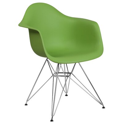 Ressler Modern Plastic Dining Chair Color: Green