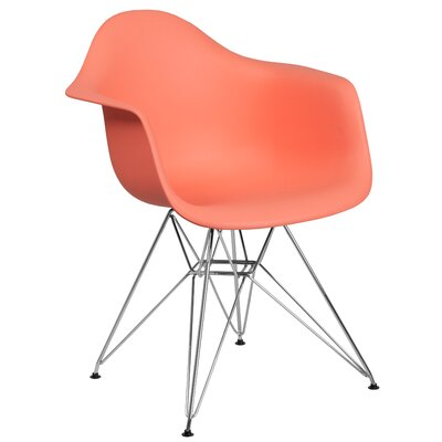 Ressler Modern Plastic Dining Chair Color: Peach