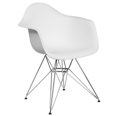 Ressler Modern Plastic Dining Chair Color: White