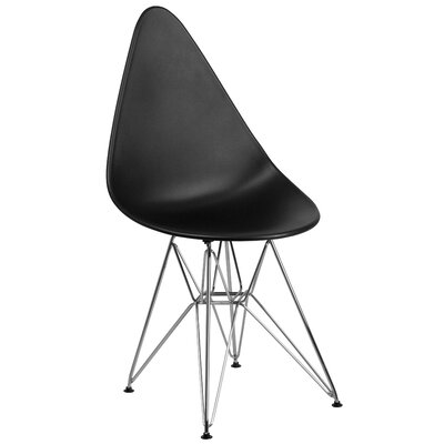 Ressler Teardrop Plastic Dining Chair Color: Black