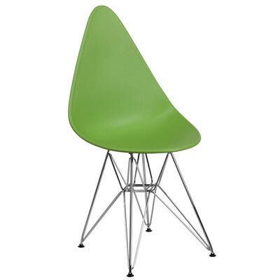 Ressler Teardrop Plastic Dining Chair Color: Green