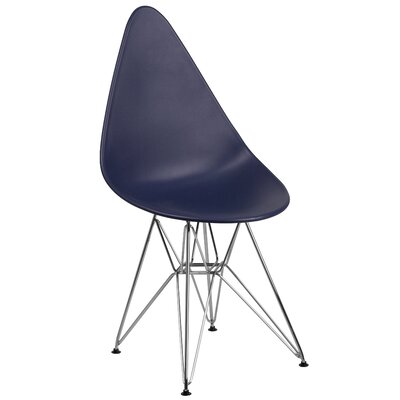 Ressler Teardrop Plastic Dining Chair Color: Navy