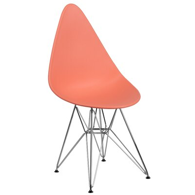 Ressler Teardrop Plastic Dining Chair Color: Peach