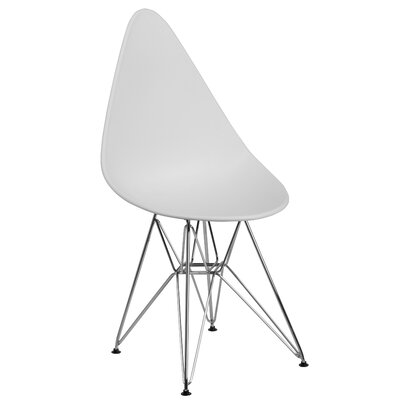 Ressler Teardrop Plastic Dining Chair Color: White