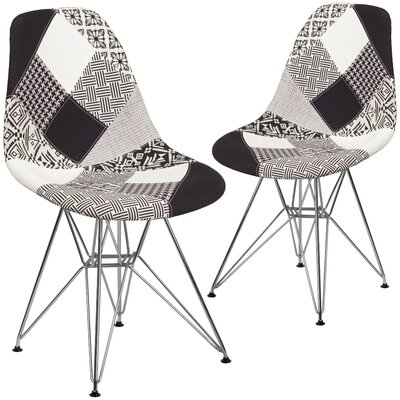 Ressler Curved Side Chair Upholstery: White/Black