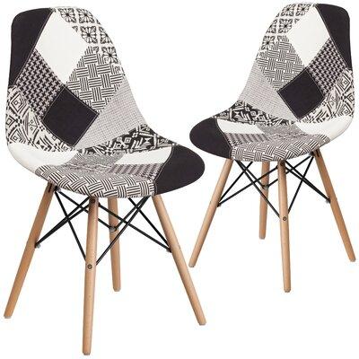 Ressler Patchwork Side Chair Upholstery: White/Black