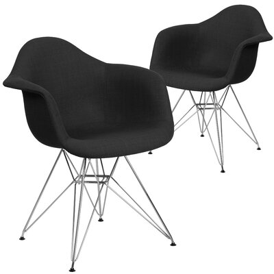 Restivo Curved Side Chair Upholstery: Black