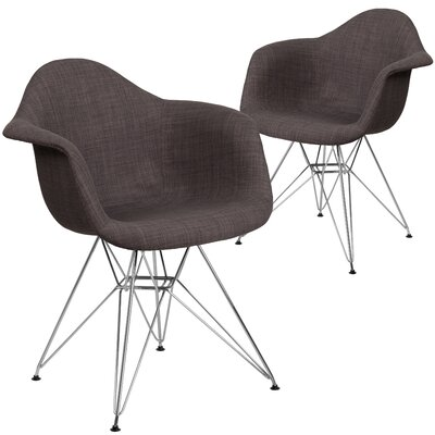 Restivo Curved Side Chair Upholstery: Brown