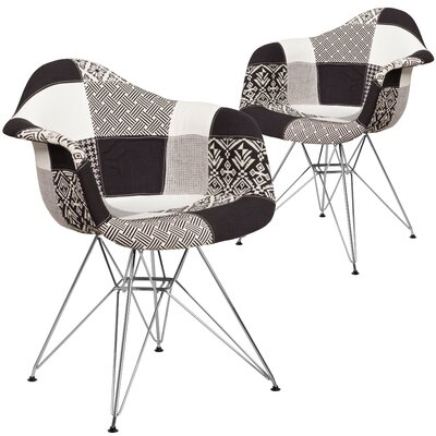 Restivo Plaid Side Chair Upholstery: White/Black