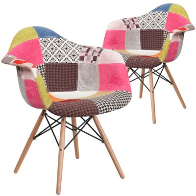 Restivo Side Chair Upholstery: Pink/Gray/Brown