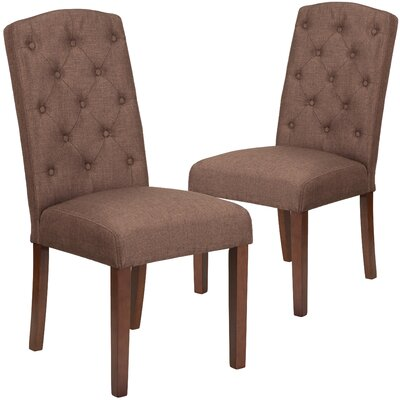 Orland Mid-Century Tufted Parsons Dining Chair Upholstery Color: Brown